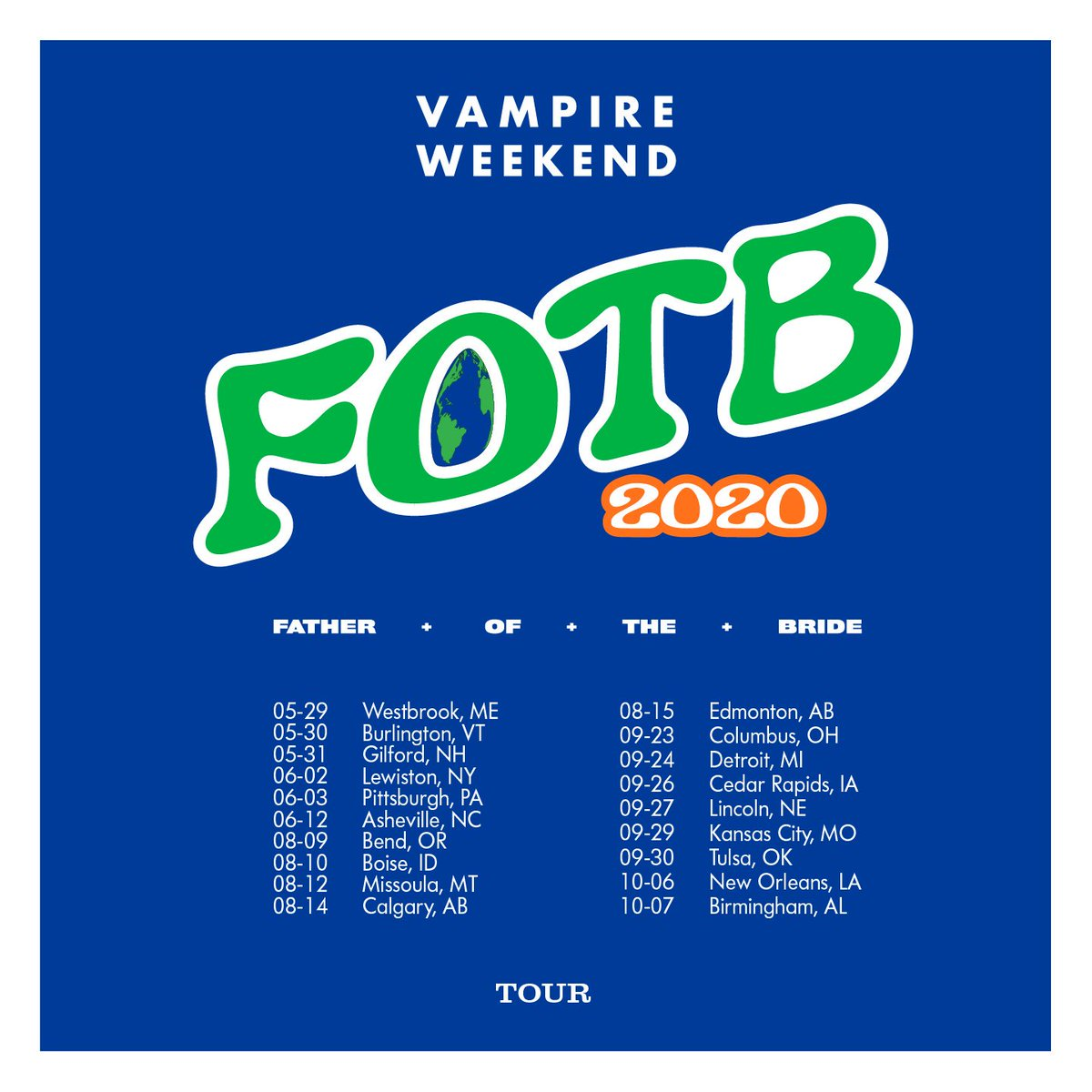 New FOTB dates have been added for 2020. Presales start Wednesday at 10am. VampireWeekend.com