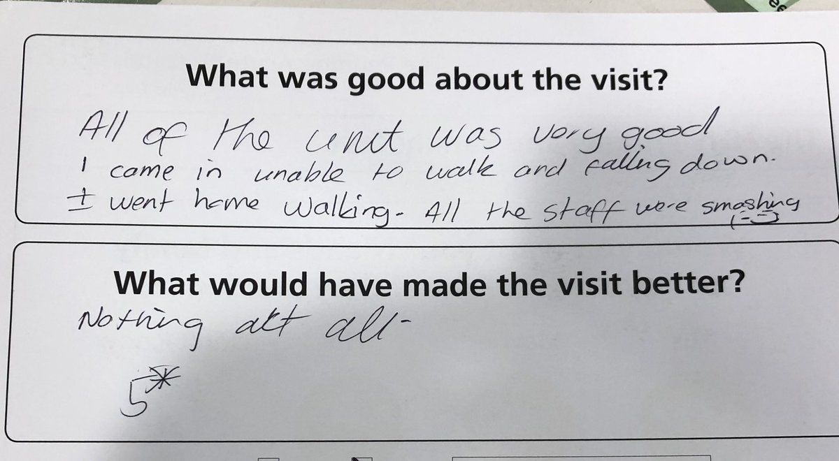 """Another top """"review"""". Well done to all involved in this lady's care 🏩 #rehabilitation #crumpsallvale https://t.co/rTtosUJeWm"""