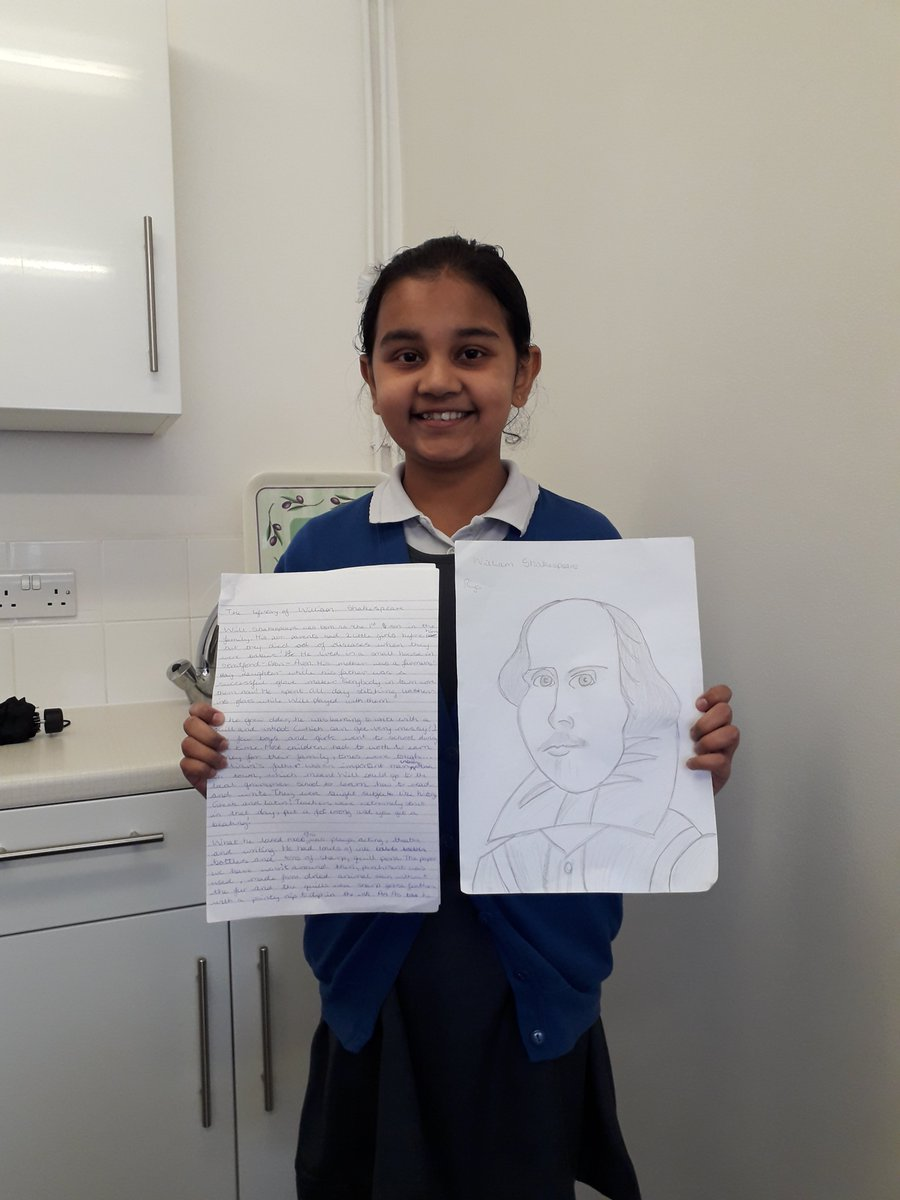Riya in Year 6 has come to share her project on Shakespeare which she worked very hard on!