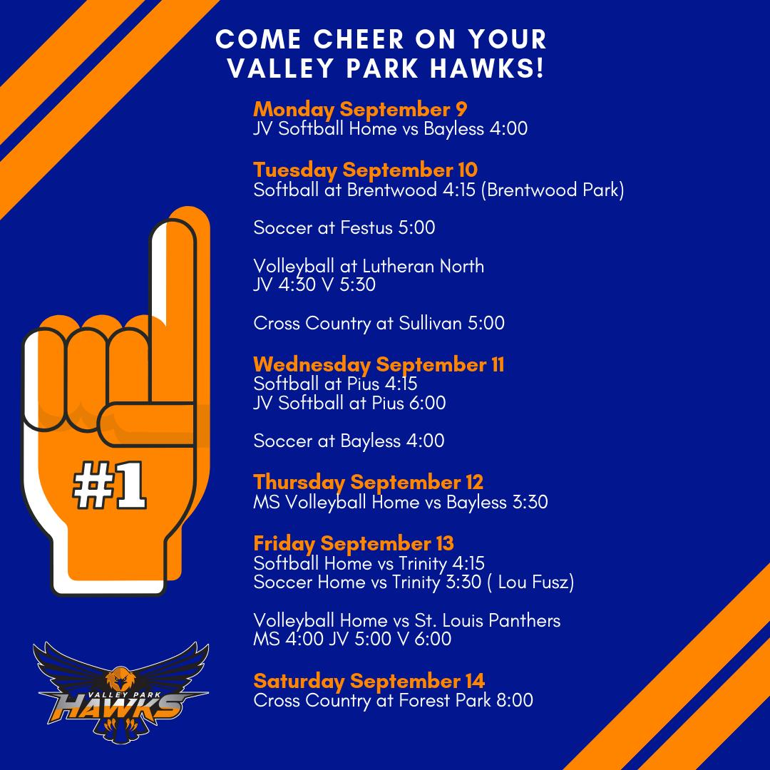 Come cheer on your VP Hawks! Here is the game schedule for all the VP Athletics this week! #GoHawks #VPpride