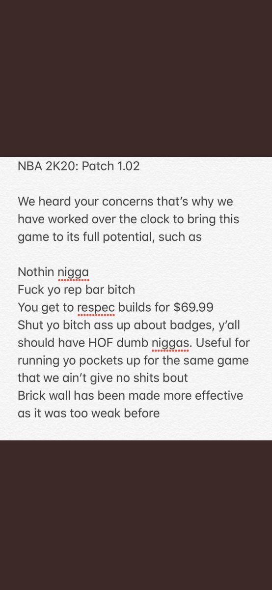 Here are the patch notes from today #fixnba2k20<br>http://pic.twitter.com/GS57jpu6oV
