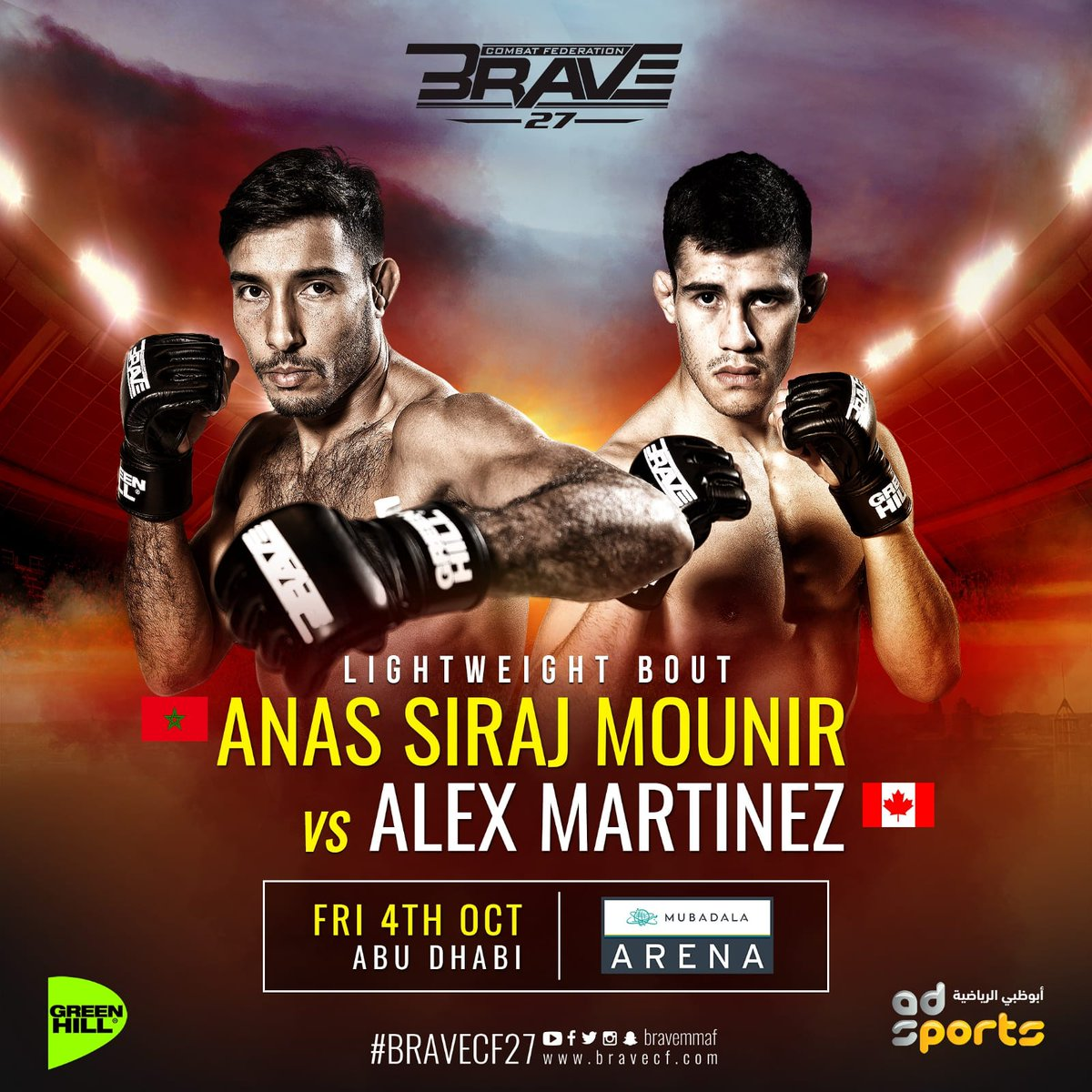 After an accidental low kick at #bravecf23🇯🇴 within the start of the fight which resulted in a NO CONTEST bout The REMATCH is set between   🇲🇦 @Sirajmounir86 and  🇨🇦 @Mmartinez_alex  #BRAVECF27🇦🇪  Who do you think will get the WIN⁉️ #inabudhabi #mma #lightweight  #morocco #Canada https://t.co/jnNy32oE1S