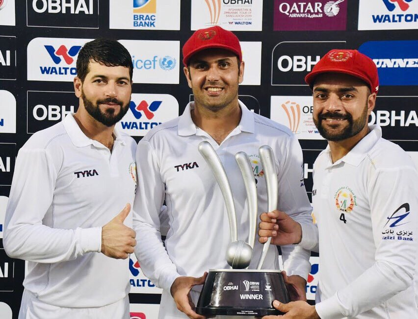 Test match victory against Bangladesh congratulation to the whole proud afghan nation was outstanding team effort and thank you legend and cool man @MohammadNabi007 for your all services u did for Afghanistan we will miss your skills and experience in test cricket 🏏 🇦🇫🇦🇫🇦🇫 https://t.co/5zjFt4kGpc