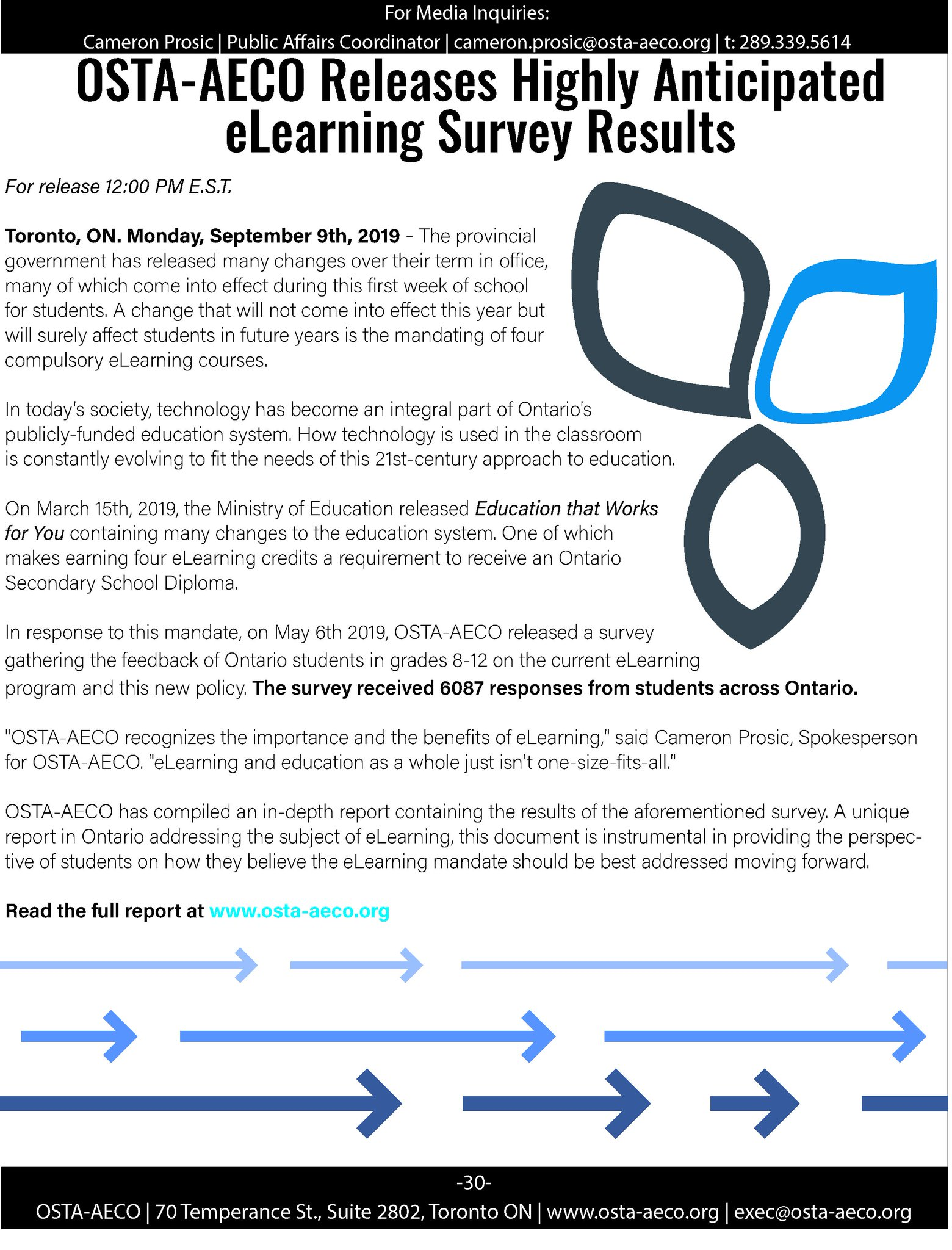 OSTA-AECO releases highly anticipated e-learning survey results press release