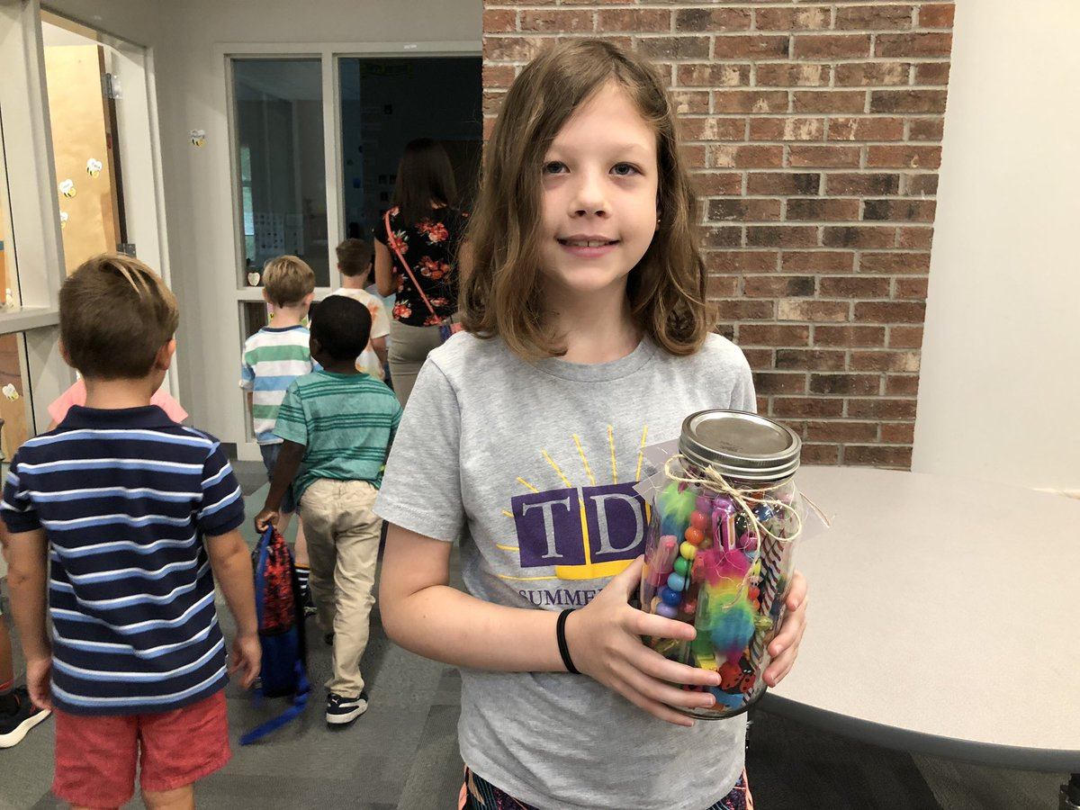 This is not her first Estimation Jar victory! Fifth grade is two for two.