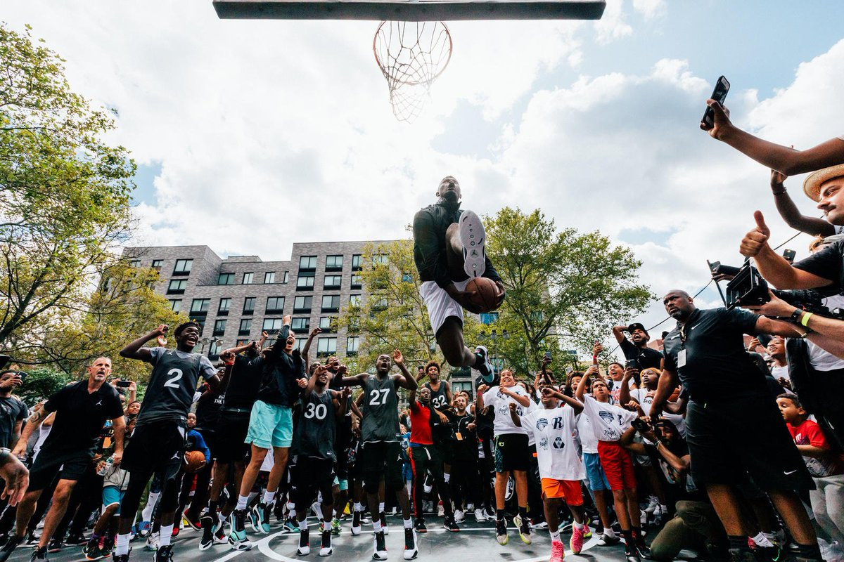 Jordan Brand (@Jumpman23) Launches The Air Jordan XXXIV In Harlem, NYC With @Zionwilliamson, @A_Hooper25, and @KayNurse11 --