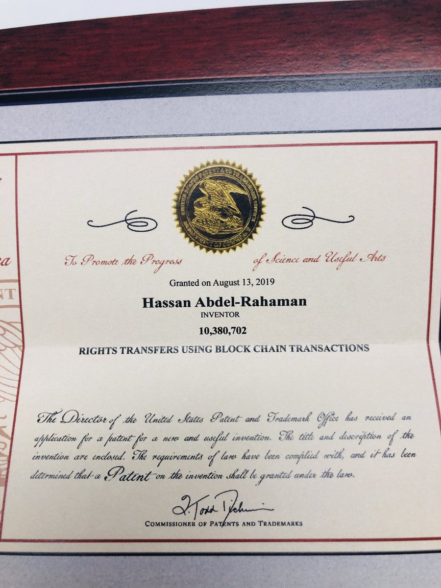 Congratulations @christse & Hassan @habdelra on being granted a patent by the @uspto—for rights transfers using blockchain transactions! This work, which was done as part of @Monegraph in 2014, laid the foundation for a lot of digital collectible projects ever since.