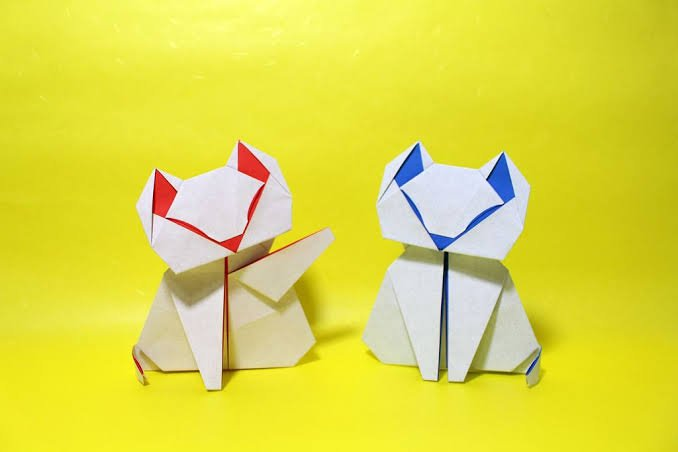 3d origami for kids: origami cat instructions | 452x678