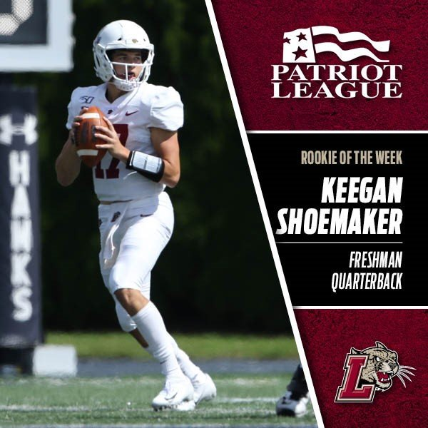Congratulations to @Keegshoemaker11 who is the @PatriotLeagueFB Rookie of the Week...the freshman completed 20-of-32 passes (63%) for two touchdowns at Monmouth on Saturday...gopards.co/FB090919 #RollPards #Break_Through 🐆🏈