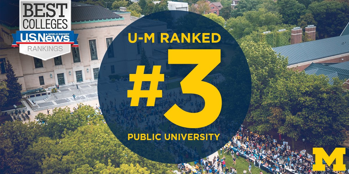 In a new ranking by @usnews, U-M is ranked the nation's third-best public university and 25th overall. #GoBlue #URecord  http:// myumi.ch/Wwejk    <br>http://pic.twitter.com/lPS0VjsU3o