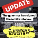 Image for the Tweet beginning: . #SB714 & #SB276 UPDATE: Governor