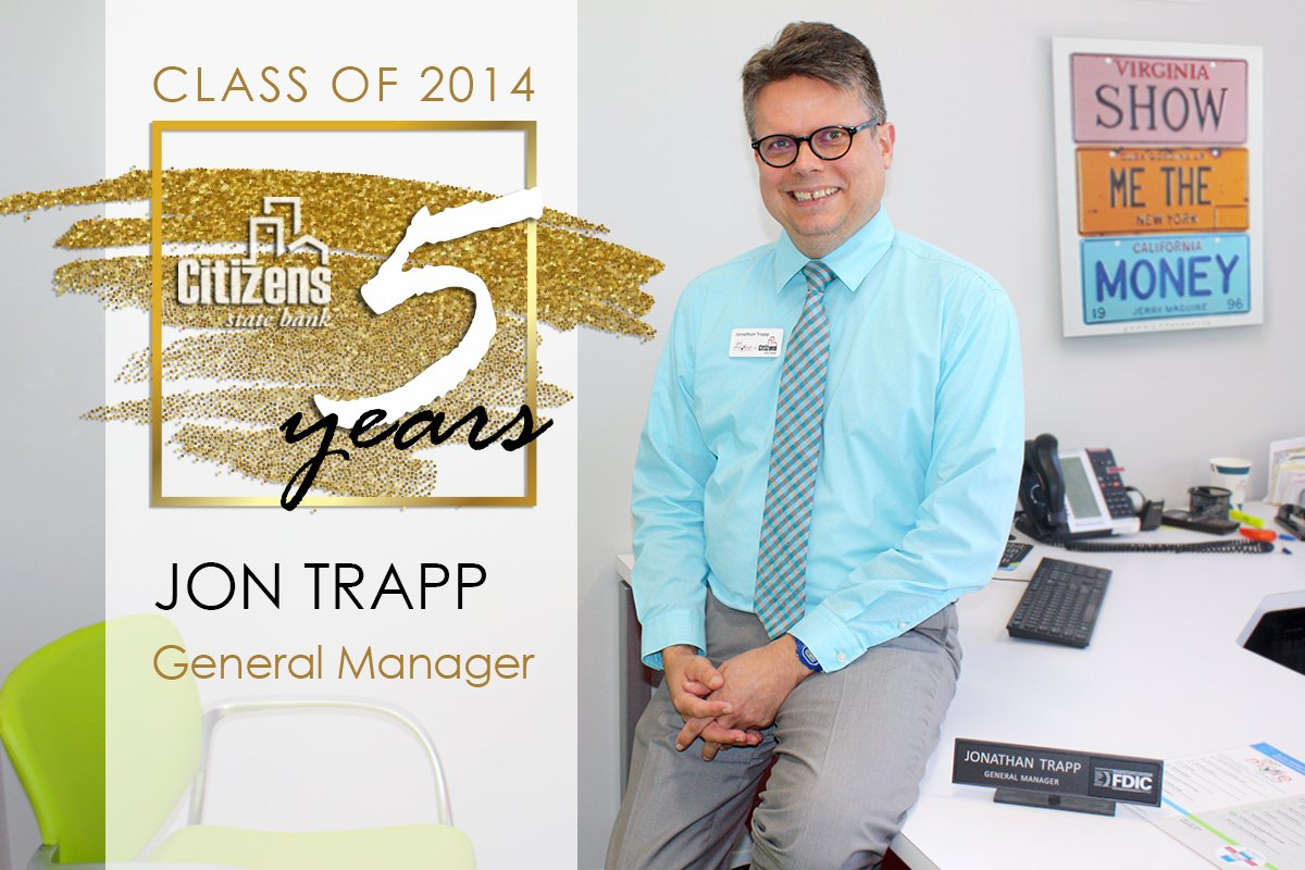 We can hardly believe it has already been 5-years of this beaming smile grinning back at us each and every day... help us congratulate La Crosse General Manager Jonathan Trapp on his milestone anniversary with Citizens State Bank!   #CitizensExperience #milestone https://t.co/PkpYXpJDs2