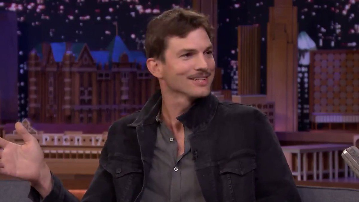 Ashton Kutcher (@aplusk) is rocking a spite 'stache after Mila Kunis mixed up the details for a theme party. More with @aplusk on #FallonTonight!