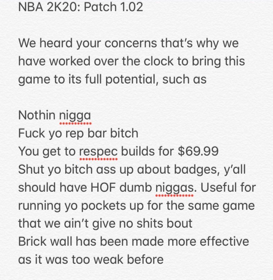 I GOT THE PATCH NOTES GUYS! THANK ME LATER!  LIKE AND RT #fix2k20<br>http://pic.twitter.com/dyfGWj6zF2