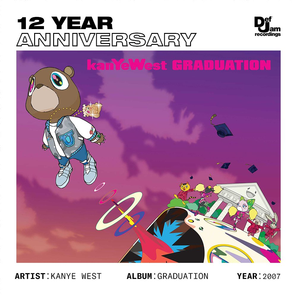 12 years ago today, Kanye West dropped 'Graduation'  • 3 GRAMMYs  • 2X Platinum  • Changed hip-hop forever <br>http://pic.twitter.com/6TQkvpPlCm