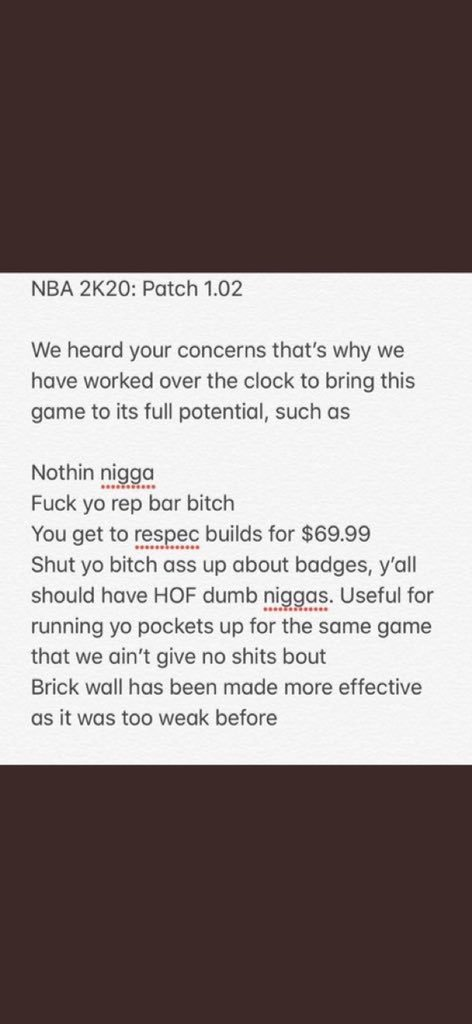 Found the patch notes for NBA 2K20