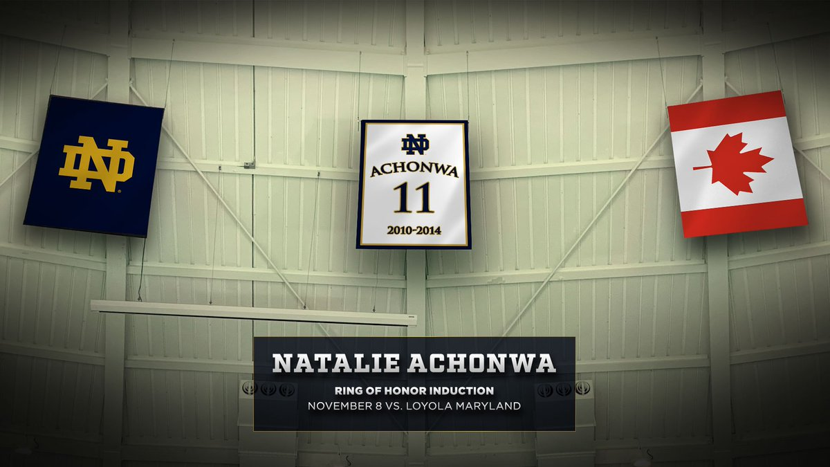 Headed to the rafters.  Alumna @NatAchon will be inducted into our Ring of Honor when we take on Loyola Maryland this November 8.  #GoIrish https://t.co/E316zUfw6C