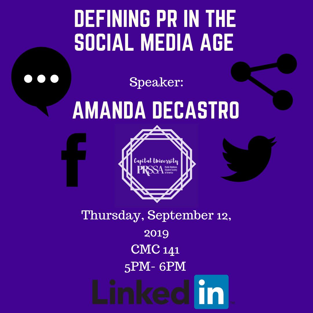 THIS THURSDAY!  Come to CMC room 141 to listen to @AmandaDeCastro discuss PR in the Social Media Age!
