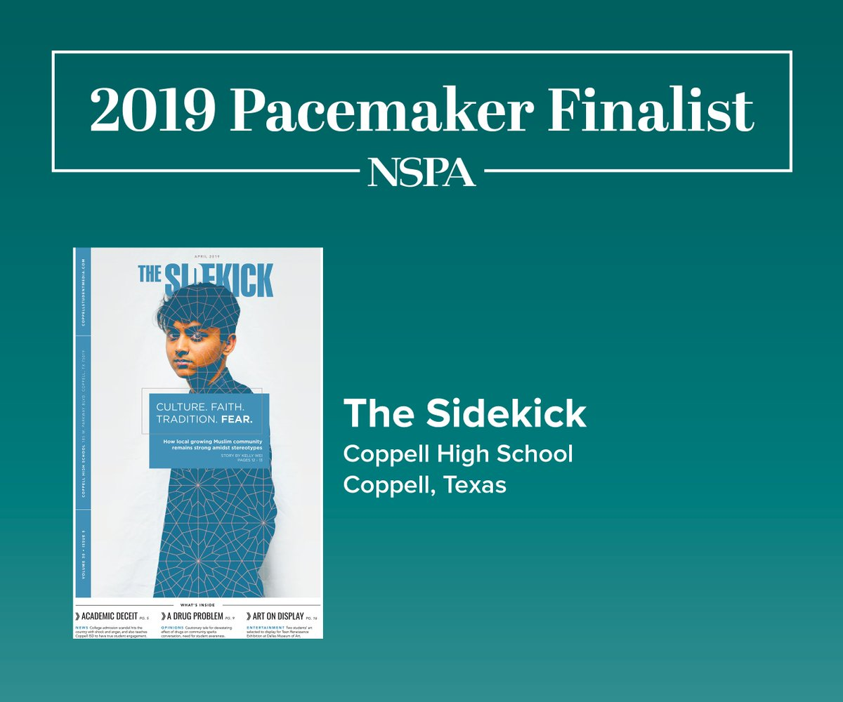 Congrats to 2019 Newspaper Pacemaker finalist The Sidekick from Coppell High School! @CHSCampusNews / @CoppellHigh bit.ly/2lGpw1N