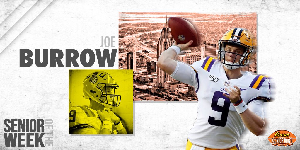 Reese's Senior Bowl Offensive Senior-of-the-Week is @LSUfootball QB Joe Burrow, who completed 31-of-39 for 471 yards and 4 TD vs. Texas. Burrow grew on us while watching tape this summer and thru two weeks of the season he's been the best QB in the nation. #TheDraftStartsInMOBILE