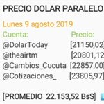 Image for the Tweet beginning: Promedio dolar paralelo @DolarToday, @theairtm,