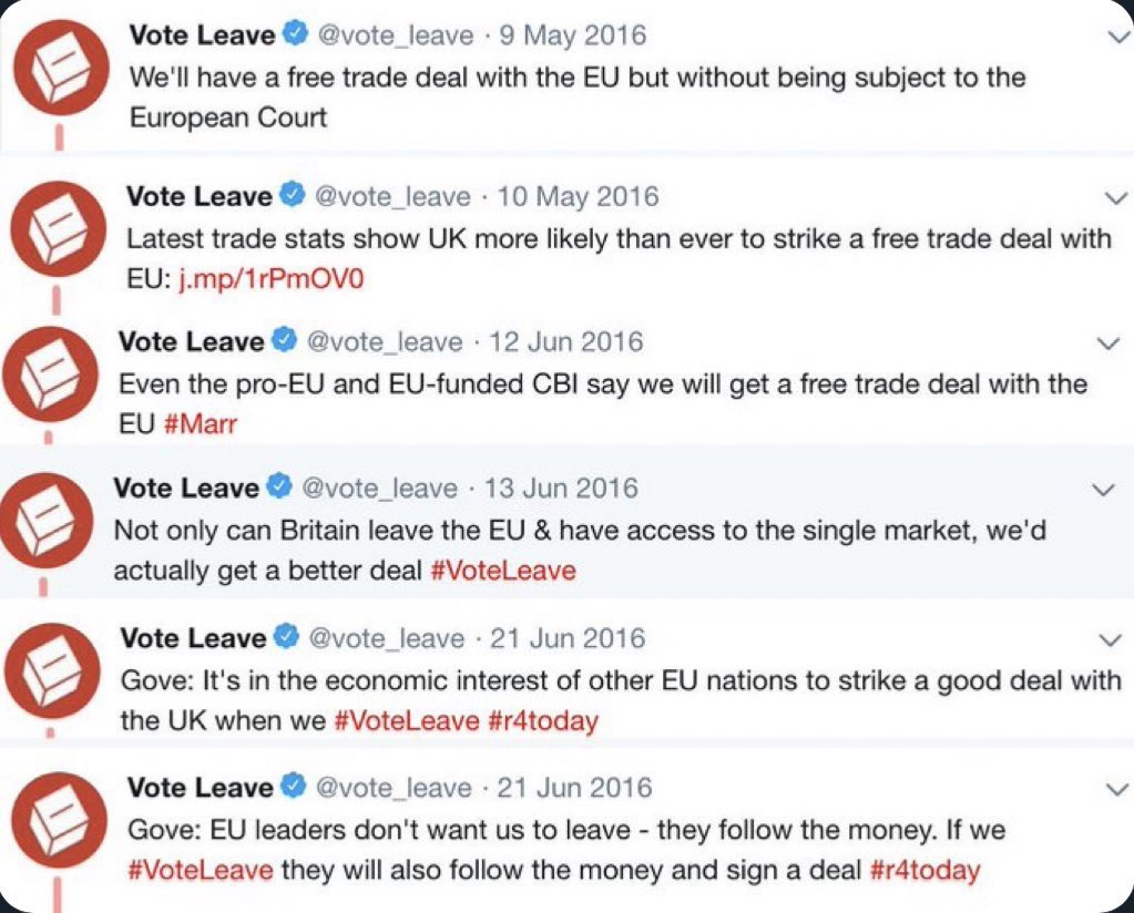 Remember what the officially designated Leave campaign (run by Dominic Cummings) was saying in the lead up to the June 23rd 2016 referendum