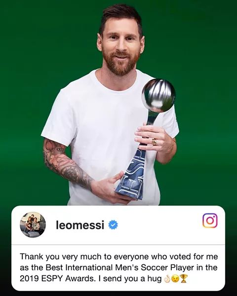 Leo Messi has been voted as best the International Footballer of the year. #ESPYS 2019  CONGRACULATIONS @WeAreMessi 👏👏👏👏