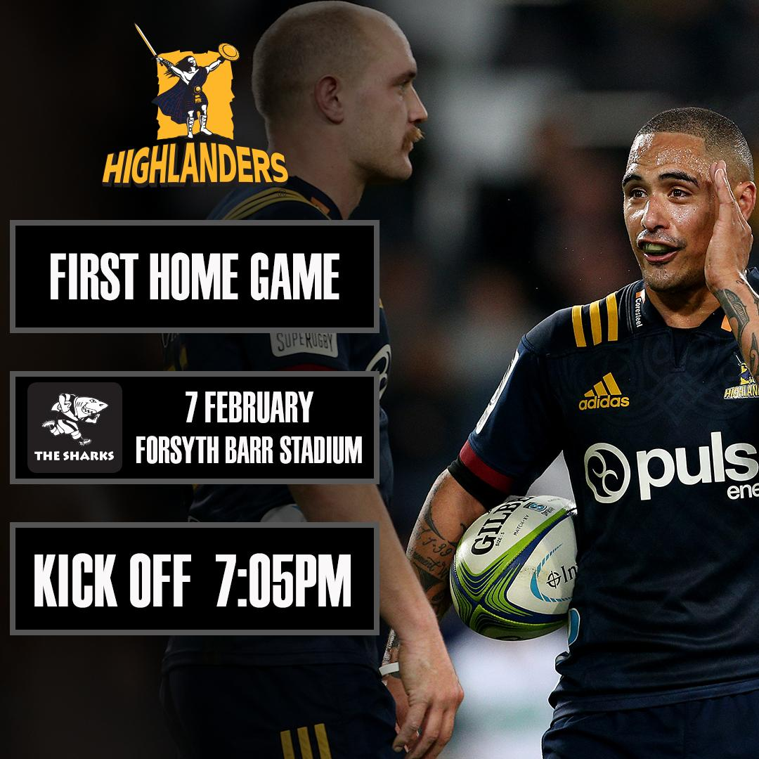 Hey @Highlanders fans! Youre first home game of 2020 comes in week 2⃣. Remember the new kick-off time! Find out more about the early kick-off times here ➡️ bit.ly/2kbX9bx