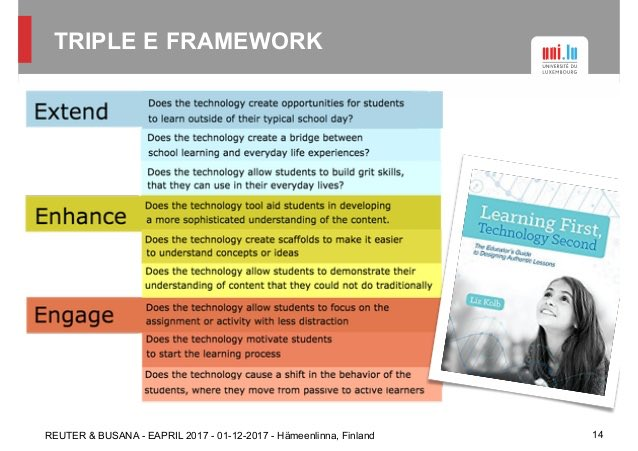 I like the Triple E Framework for incorporating technology into the classroom. It's important to not get caught up in the idea of technology and make sure that students are still actively learning from it. #EDU464 #teacherbytrine<br>http://pic.twitter.com/IfKd4AzTre