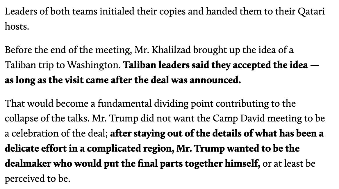 Holy shit. Peace talks between the US and the Taliban ended because the terms of the *announcement* wouldnt allow Trump to take full credit. Quite possibly the most dangerous ego in American history.