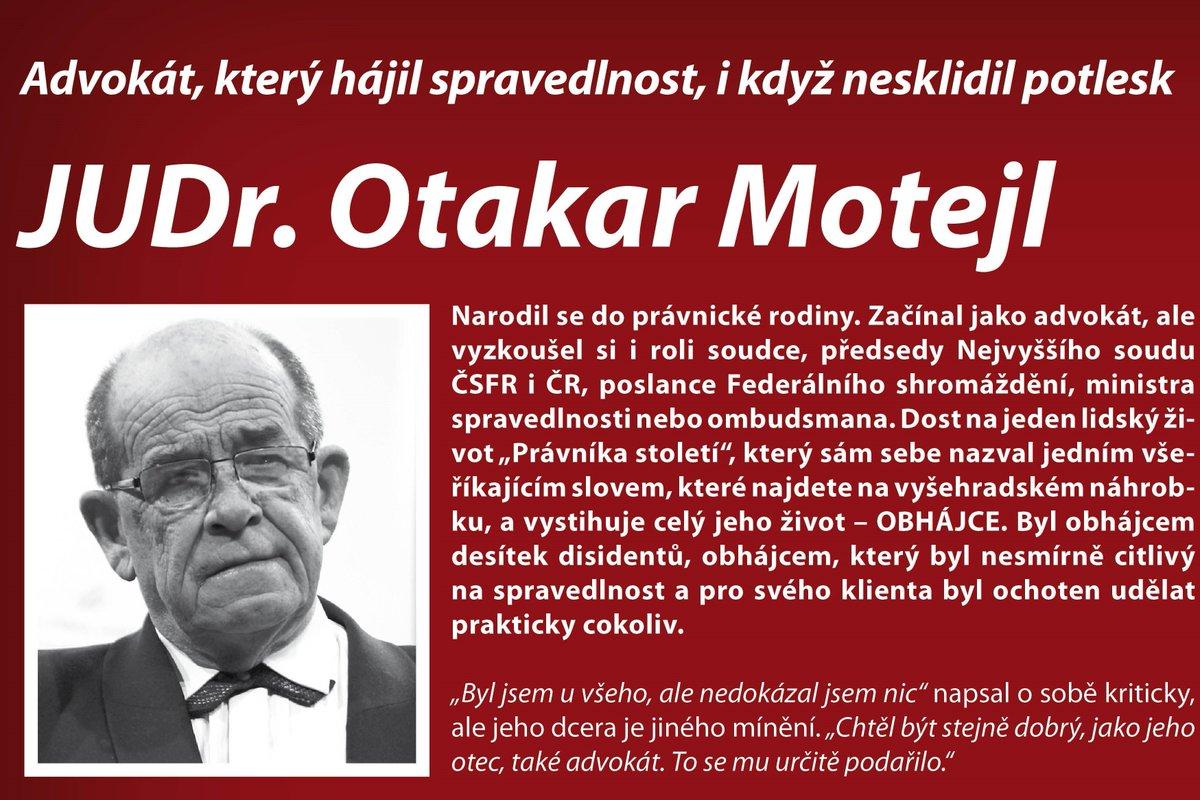 test Twitter Media - Člen Právnické síně slávy @CAK_cz a historicky náš první ombudsman JUDr. Otakar Motejl by se dnes dožil 87 let. https://t.co/LaNKQv8zpC Víte, bez jakého předmětu by neudělal ani krok? Pokud ne, zjistíte to na výstavě #Advokatiprotitotalite od 6. 11. 2019 v Galerii 17. listopadu. https://t.co/4C9lxKZmNV