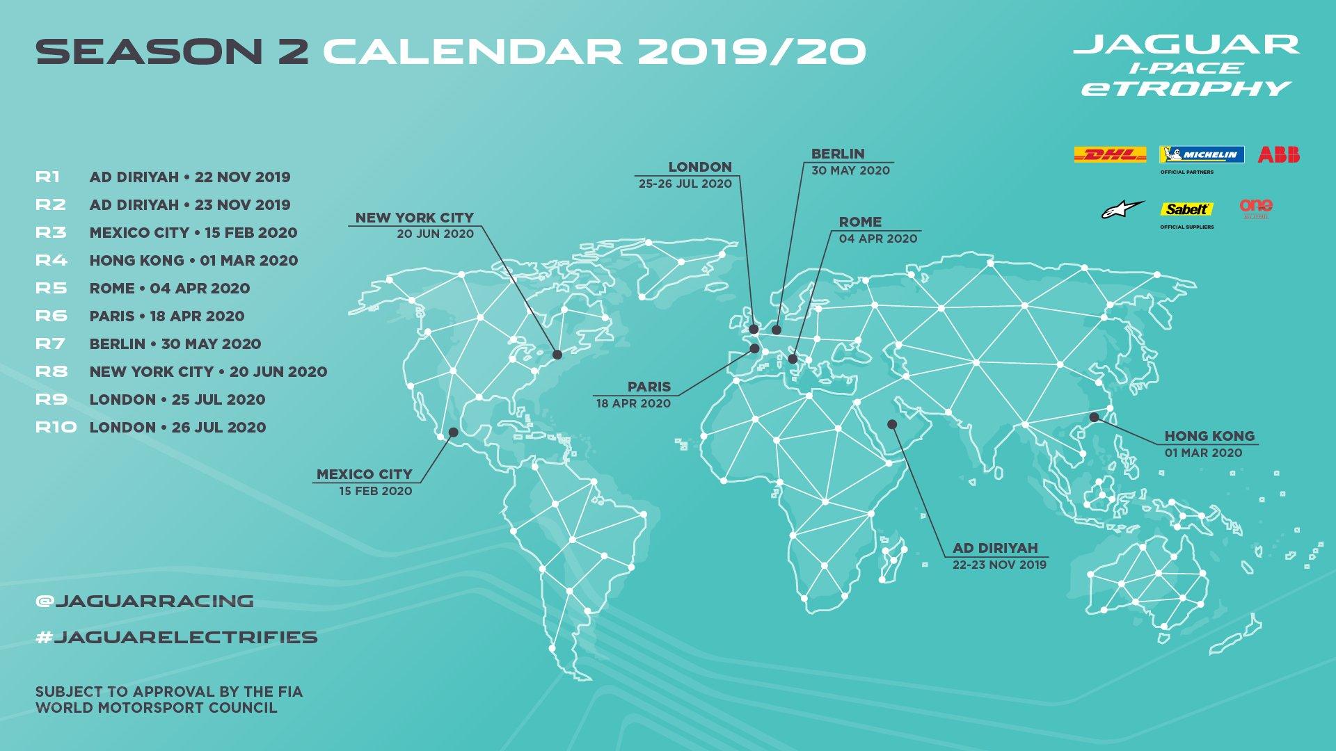 Calendrier Formule E 2020.Autres Le Calendrier De La Saison 2019 20 Du Jaguar I Pace