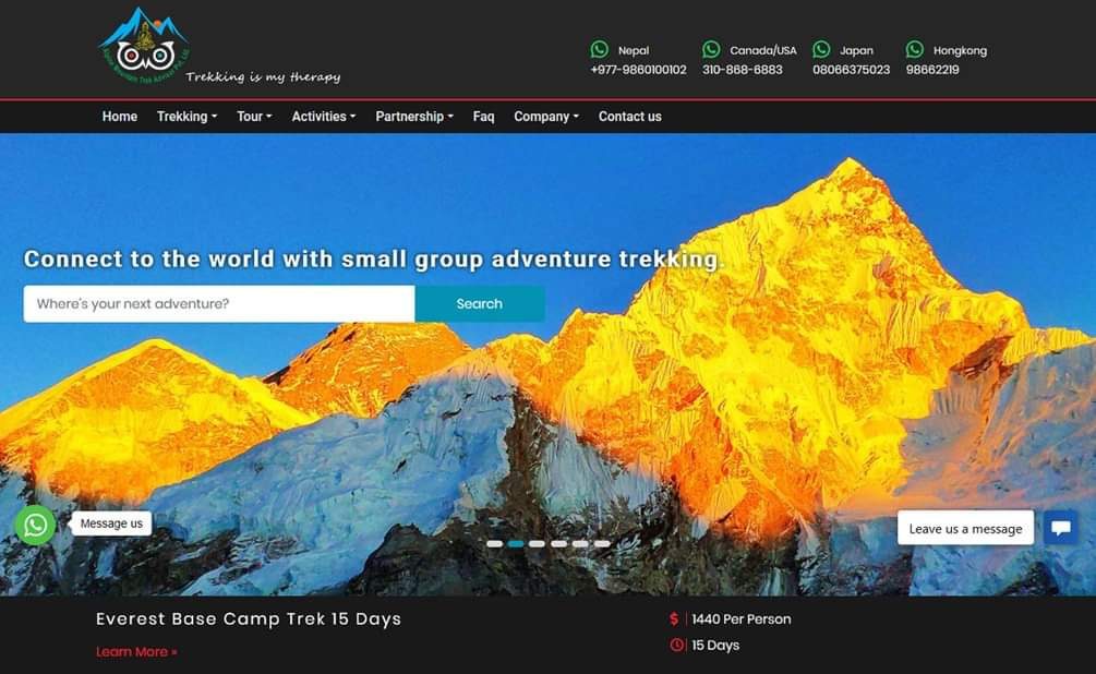 Website ProjectThank you Alpine Mountain Trek Advisor for believing and choosing us to develop https://mountaintrekadvisor.com #visitnepal2020#lifetimeexperience#tvt #unv #cctv #web_hosting #website_design #cctv_accessories #digital_marketing #bulkSMS #networking #accountingSoftware