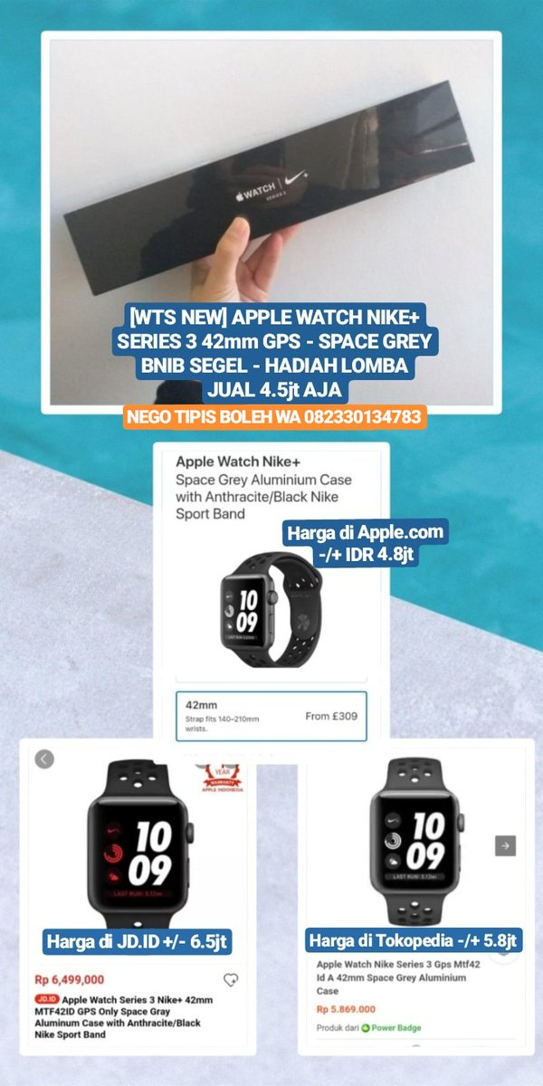 #WTS NEW - APPLE WATCH NIKE+ SERIES 3 42mm GPS - SPACE GREY BNIB SEGEL - HADIAH LOMBA Start 4.5jt (nego tipis boleh) WA 082330134783  Fyi, harga di http://apple.com 4.8jt, di http://JD.ID 6.5jt, di Tokopedia 5.8jt  #applewatch #smartwatchmurah #jualsmartwatch pic.twitter.com/WCc3rbWcgO