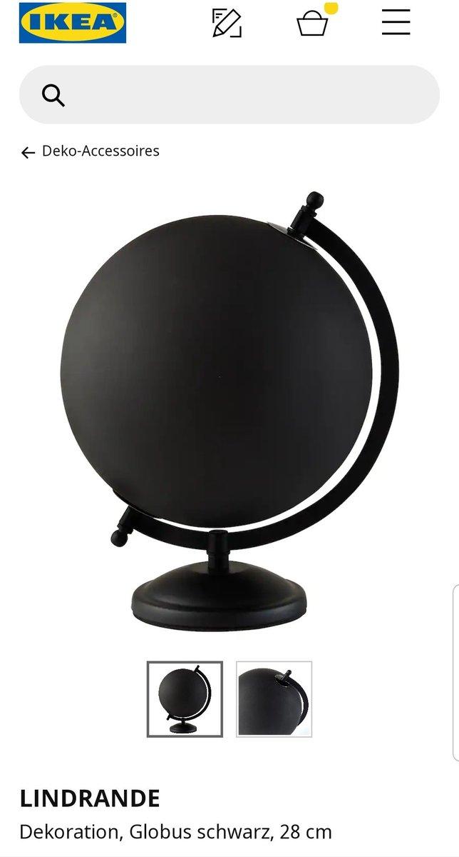LINDRANDE IKEA Dekoration Globus in schwarz; 28cm