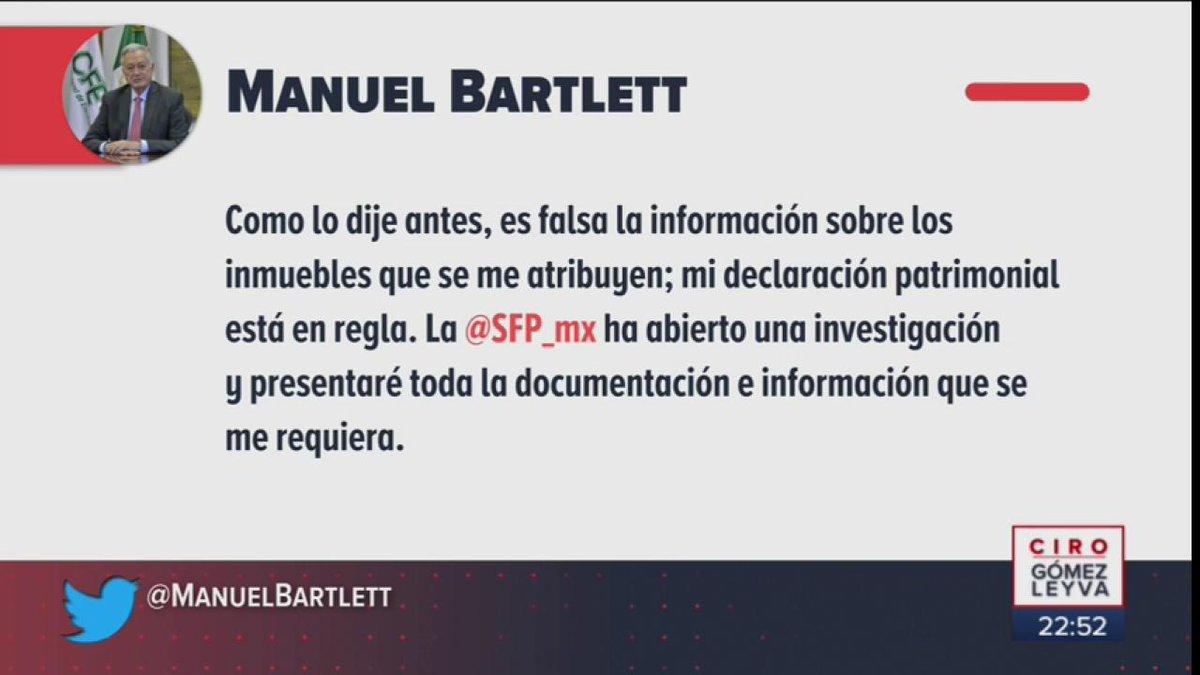 El director de @CFEmx, @ManuelBartlett, aseguró que es falsa la información sobre los inmuebles que se le atribuyen, y por los cuales la @SFP_mx informó que abrió una investigación