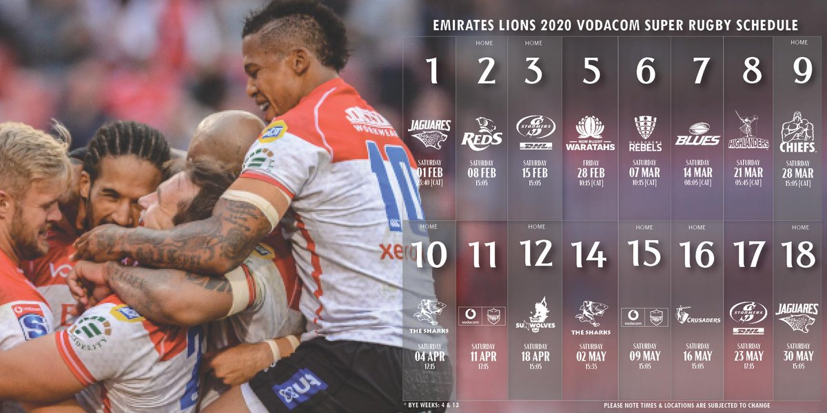 The @emirates Lions kick off their 2020 Vodacom Super Rugby campaign in Buenos Aires against the Jaguares 1 February. This is followed by their first match on home turf Saturday 8 February when they host the Reds at 15:05. Full article here: bit.ly/2k92noi #LionsPride