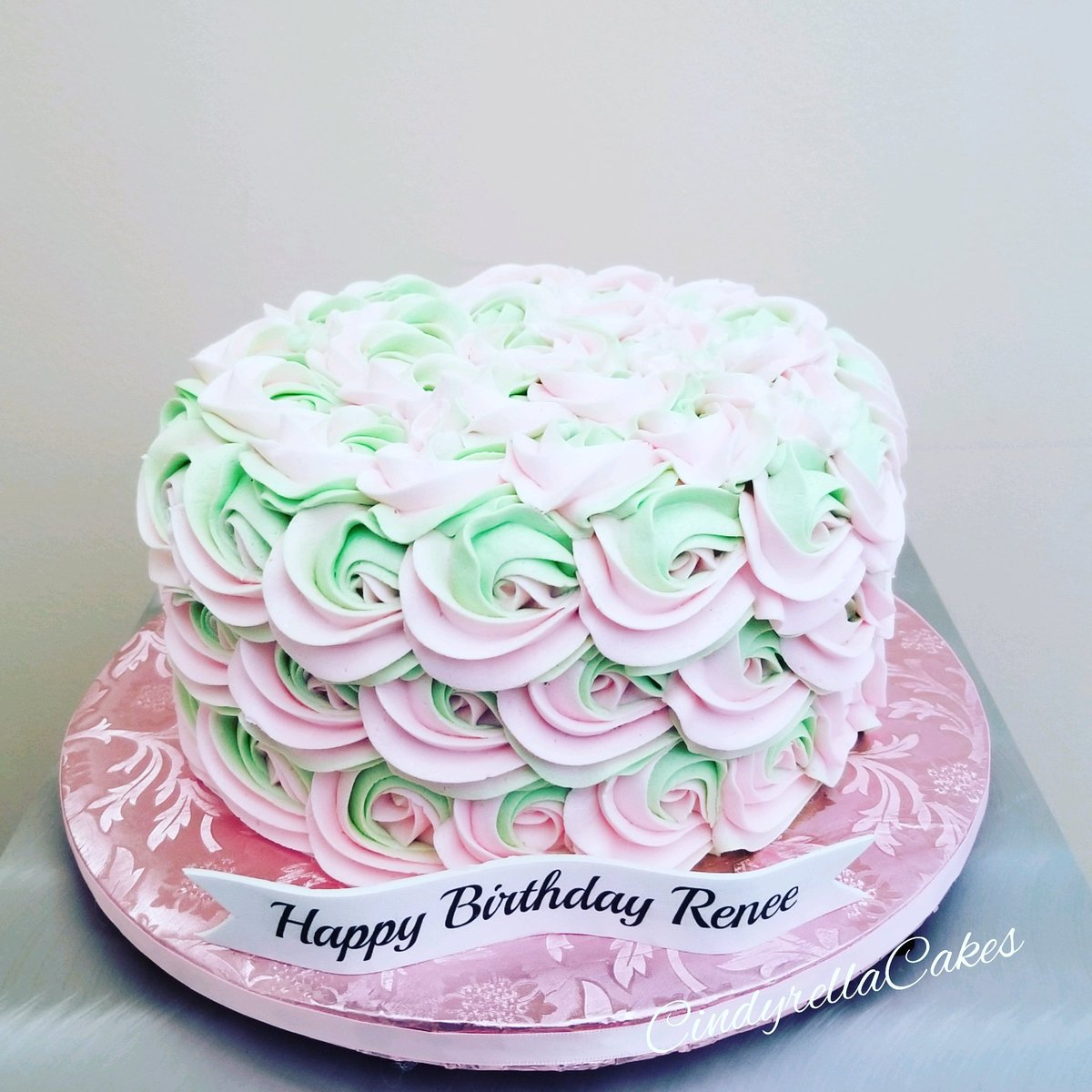 Awesome Cindyrella Cakes On Twitter The 2 Tone Rosette Cake Is So Pretty Funny Birthday Cards Online Alyptdamsfinfo