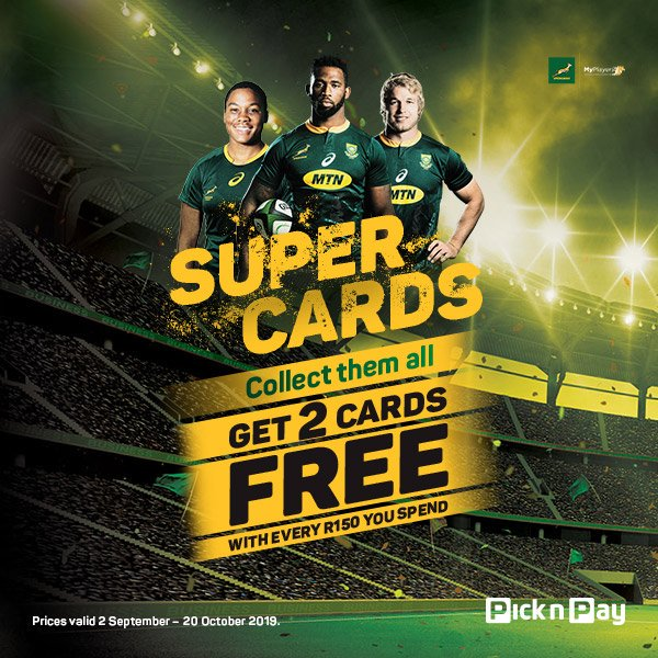 The Boks may be away in the Far East, but you can still find them (and the @WomenBoks) in your local @PicknPay. Support grass roots rugby initiatives in SA – spend R150 and get two cards for free, buy an album for R20 and start collecting all 72 cards! Available nationwide.