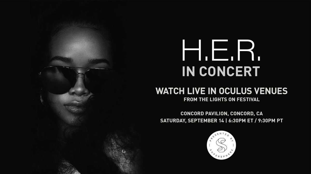 Experience my headlining set at the @LightsOnFest in immersive VR, sponsored by @SupersphereVR and filmed live at the @ConcordPavilion. Tune in to the show this Saturday, September 14 at 9:30PM PT live on @Oculus Venues. 🎶🎤 ocul.us/HER #LightsOnFest