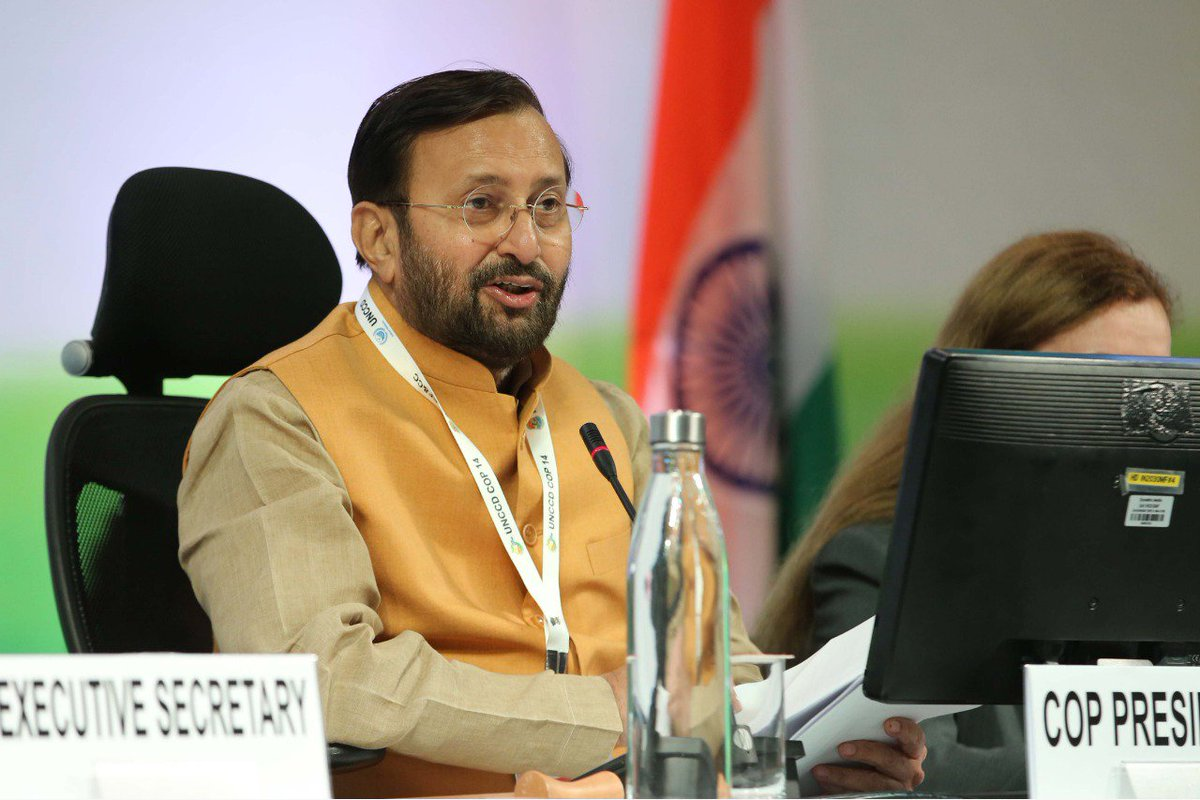 The #NewDelhiDeclaration presented to parties by the President of #UNCCDCOP14, @PrakashJavdekar at the closing of the High Level Segment. Hosted by #India, the 14th COP saw participation from a record 70 ministers, 170 countries and more than 10000 delegates