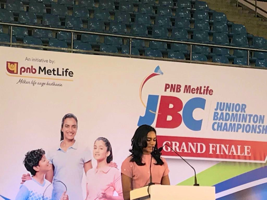 #Live @Pvsindhu1 - Our Brand Ambassador & BWF World Champion at the #PNBMetLife #JBC5 finale, The huge numbers of participants from every corner of the country, proves that the nation is bubbling with talent, that needs to be harnessed to make India a world leader in badminton""