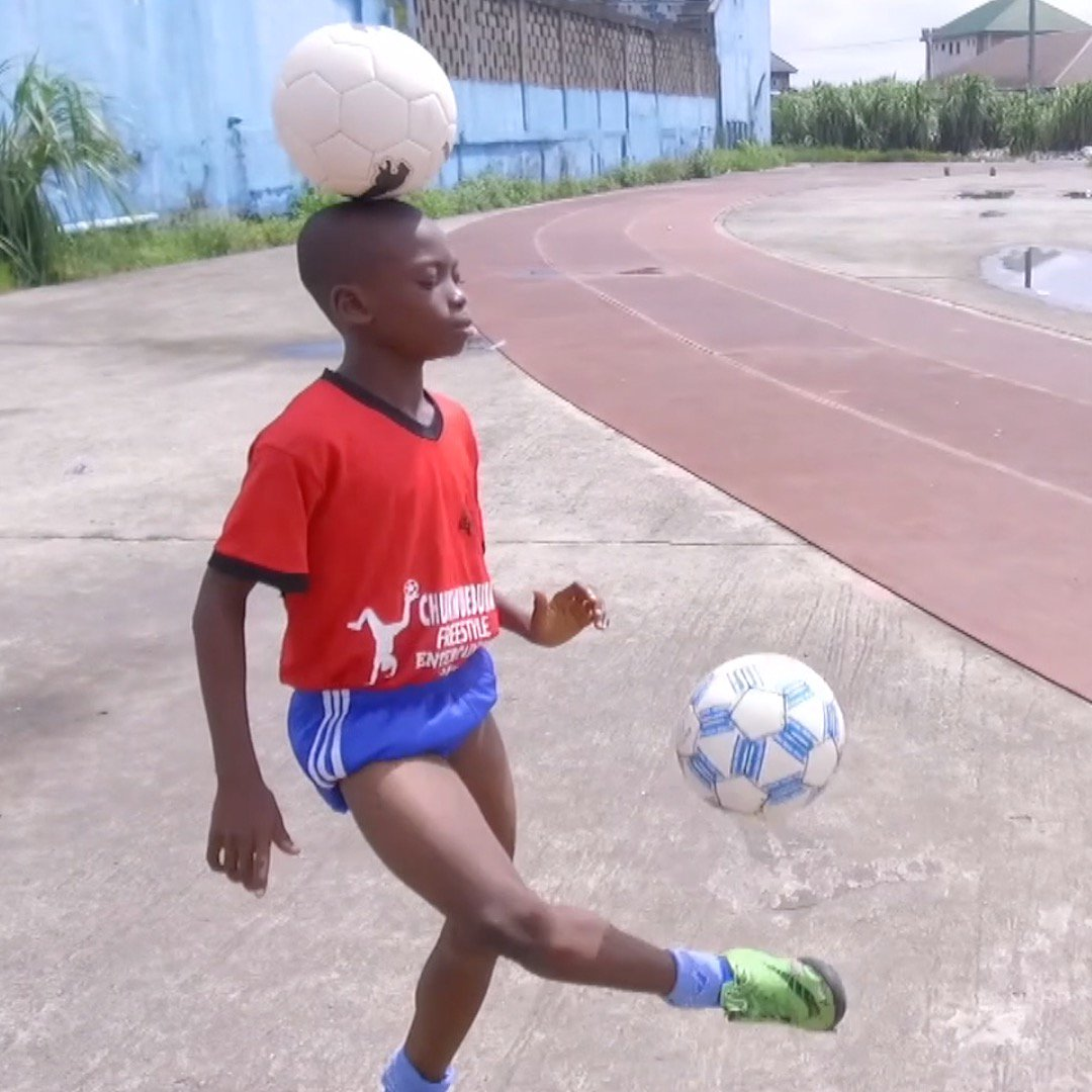 Chinonso Eche is the 11-year-old football freestyling superstar, who hopes to be a Super Eagle one day.   For now, his skills have made him a world record-breaker & Nigeria's youngest-ever to be awarded! 🇳🇬⚽  #BBCSportAfrica l @NGSuperEagles l @GWR