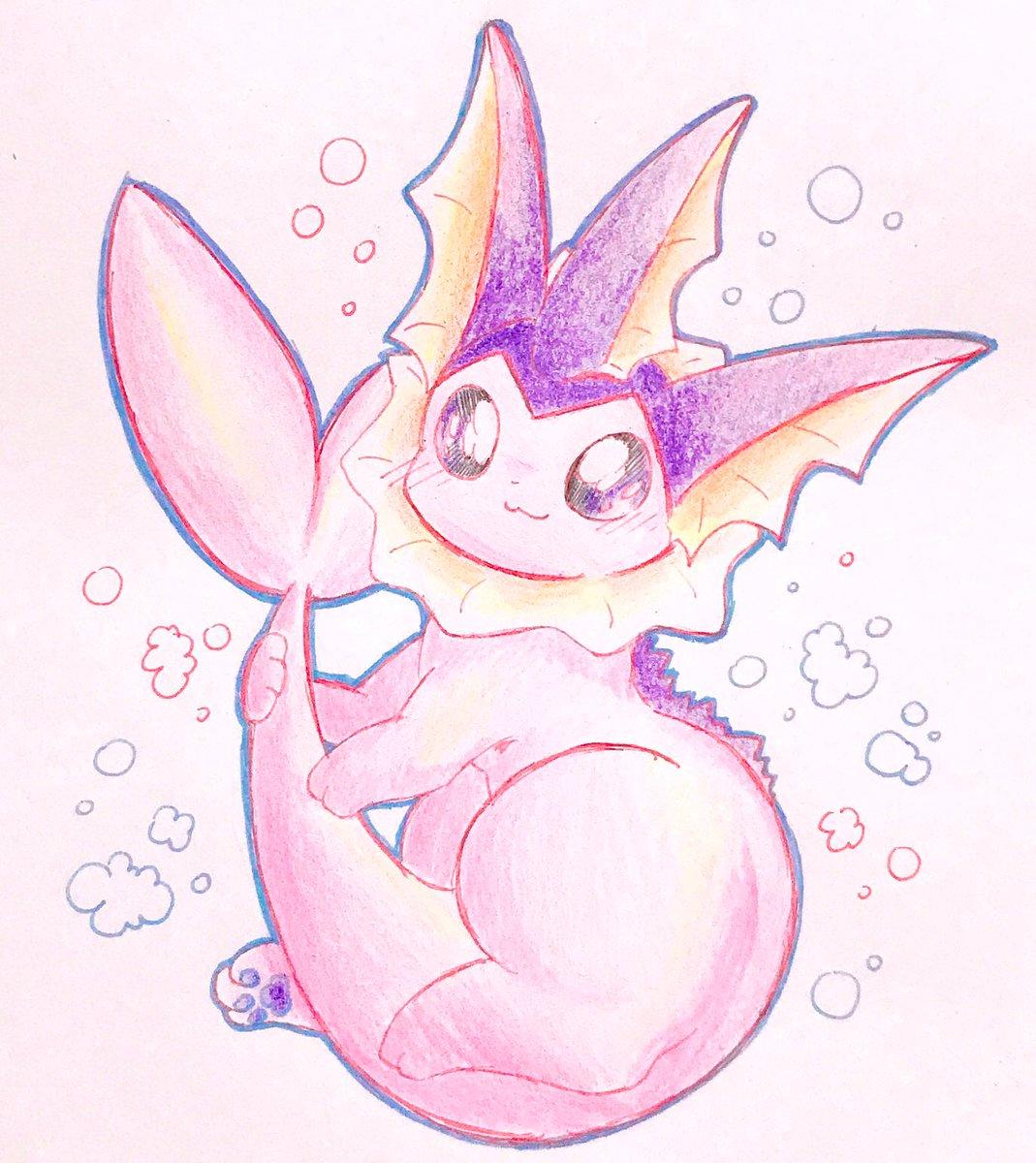 色違いシャワーズちゃん初めてですが描いてみました✨紫で綺麗( *¯ ꒳¯*)♡  #ポケモン  #シャワーズ