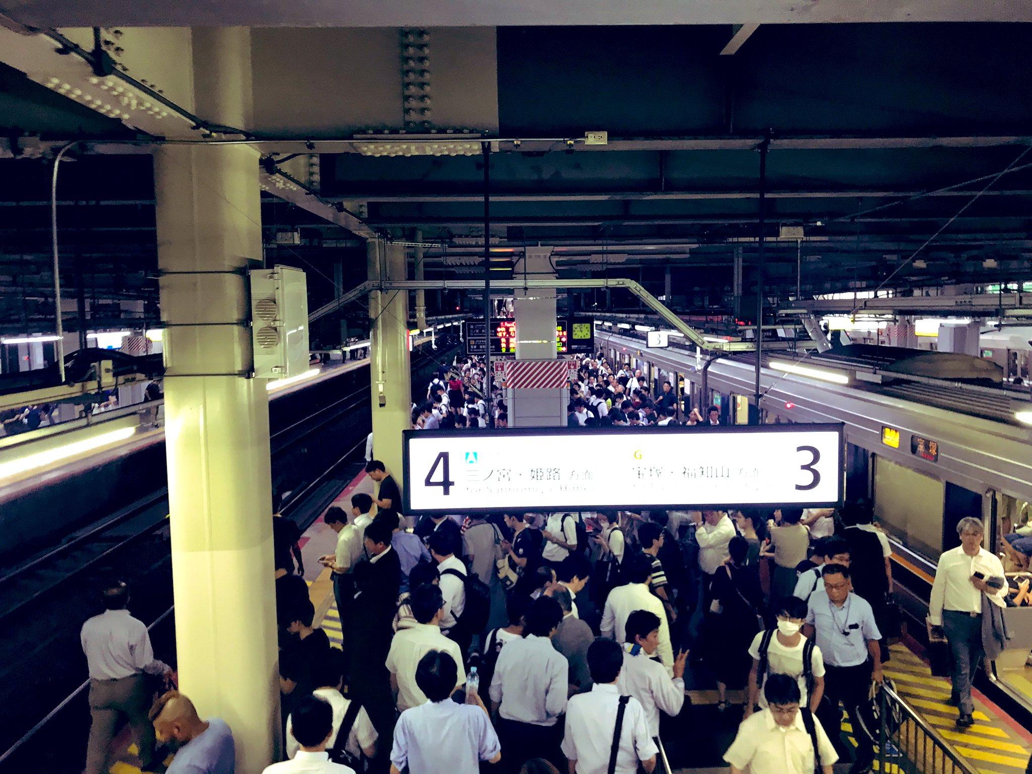 画像,神戸線人身事故で新快速が尼崎で抑止😭😭今日中に帰れない…。 https://t.co/gPuMWjCEu7。