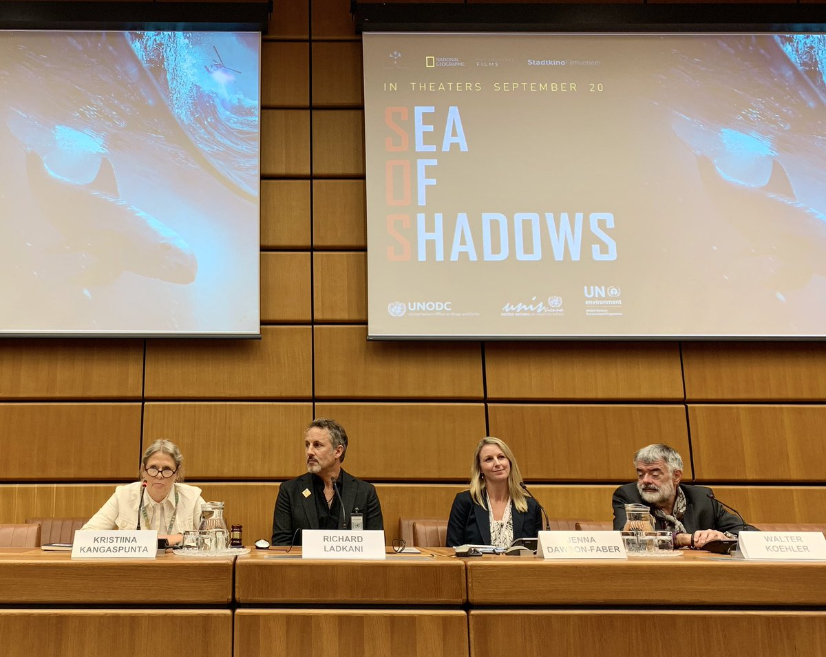 Following the screening of #SeaofShadows @UN_Vienna director @RichardLadkani, producer & CEO of #TerraMater Walter Köhler & @UNODC_WLFC Jenna Dawson-Faber discuss w/ moderator Kristiina Kangaspunta, UNODC Chief of Crime Research Section about effectively combating #wildlifecrime<br>http://pic.twitter.com/oFHt7LcRgI