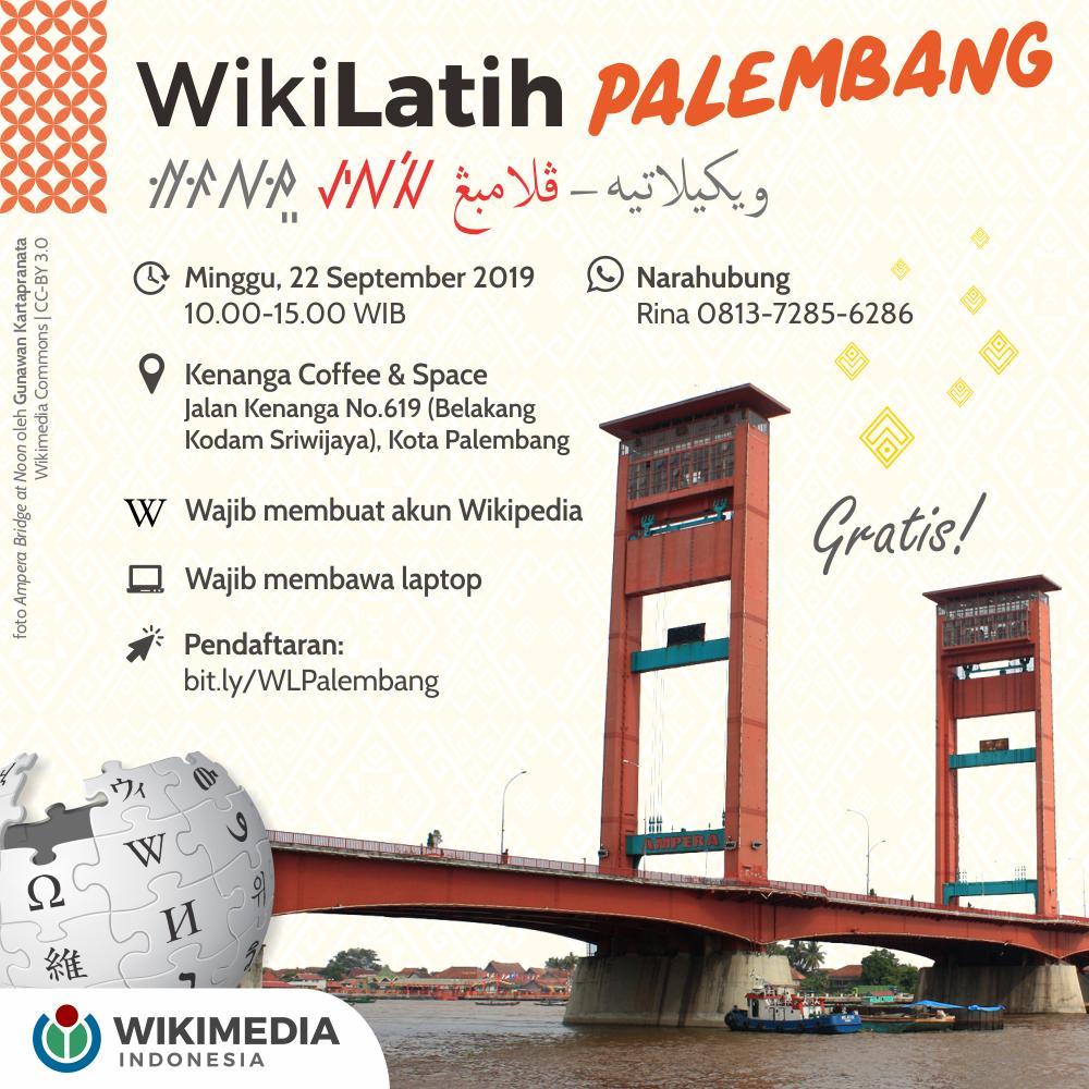 Halo, Kawan Wiki Palembang!  Wikimedia Indonesia akan mengadakan WikiLatih di kotamu pada Minggu, 22 September 2019.  Acara gratis. Silakan mendaftar pada pranala berikut: https://t.co/S6YTgDaknB  Sampai jumpa! https://t.co/ym9YKeNN7a