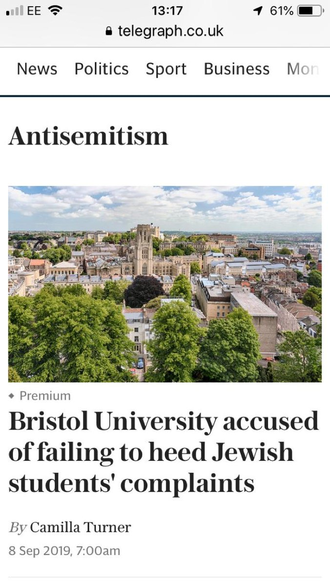 Daily Telegraph listing under antisemitism