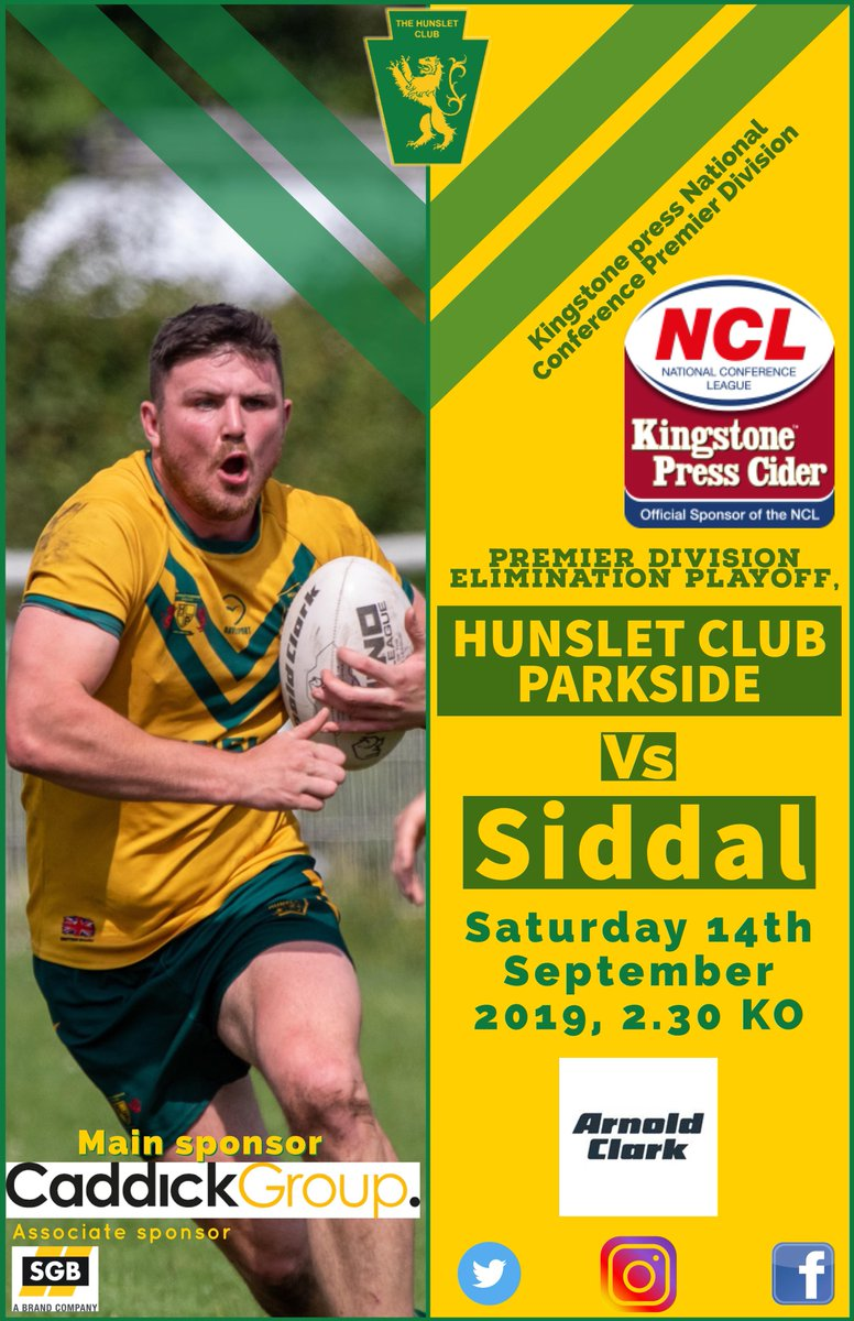 This Saturday its Knockout Rugby as we take on our friends from @siddalrl in an Elimination Playoff 2.30 KO Get down and cheer on the boys. @OfficialNCL @ArnoldClark @KingstoneCider @Rhino_RL @HunsletClub @PeterSmithYEP @YEPSportsdesk @YPSport @MSCNutritionCo @supplement_king