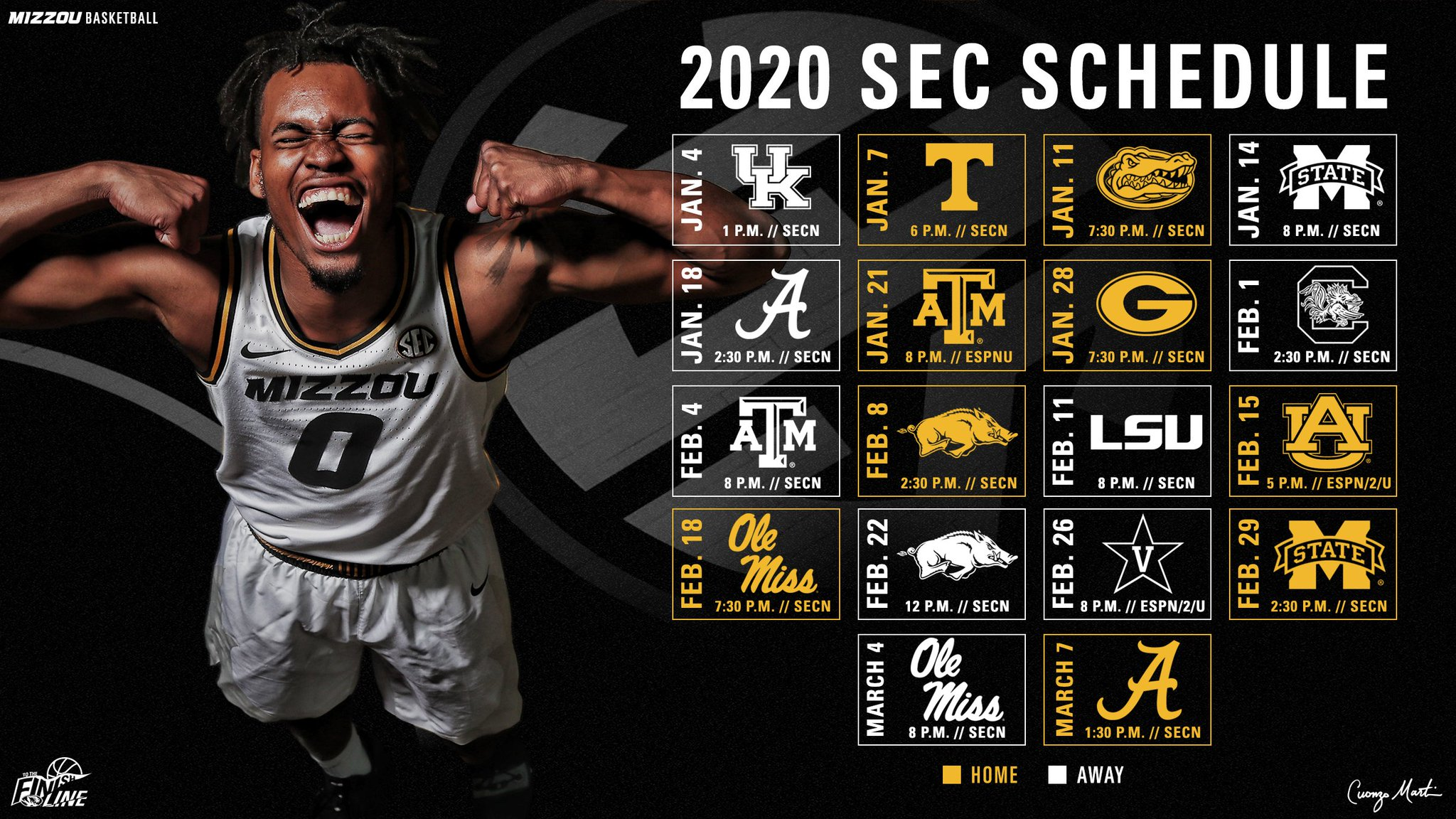 Missouri Tigers NCAA Basketball: #Mizzou's 2020 @SEC Schedule  🗓 https://t.co/Lecht9D33b  #ToTheFinishLine.  Tweet by...